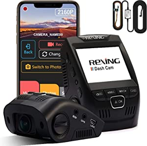 """Rexing V1-4K Ultra HD Car Dash Cam 2.4"""" LCD Screen, Wi-Fi, 170° Wide Angle Dashboard Camera Recorder with G-Sensor, WDR, Loop Recording, Supercapacitor, Mobile App with Smart Hardwire Kit"""