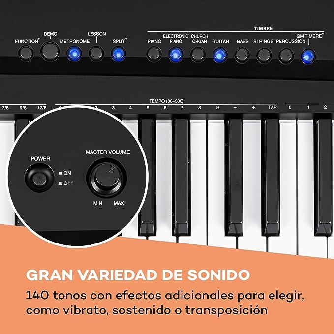 Schubert Preludio - Teclado, 88 Teclas, Curva de Velocidad Regulable, Iluminación de Teclas, Pedal de sostenido, 140 Tonos, 16 Canciones Demo, USB, ...