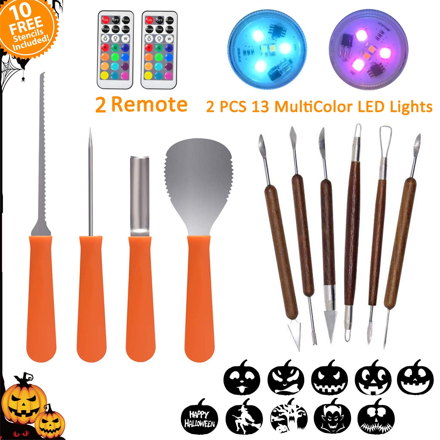 Palmhil Pumpkin Carving Kit for Halloween, 10 Pieces Professional Halloween Pumpkin Carving Set Knife Tools, 2 LED Pumpkin LED Lights with Remote & 10 Carving Stencils Perfect for Halloween Decoration by Palmhill