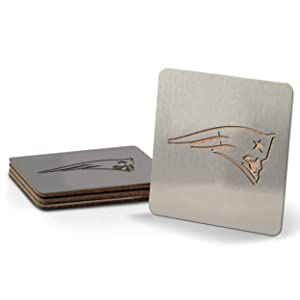 YouTheFan NFL Boasters (Drink Coasters): 4-Piece Stainless Steel, Laser-Cut Team Coaster Set