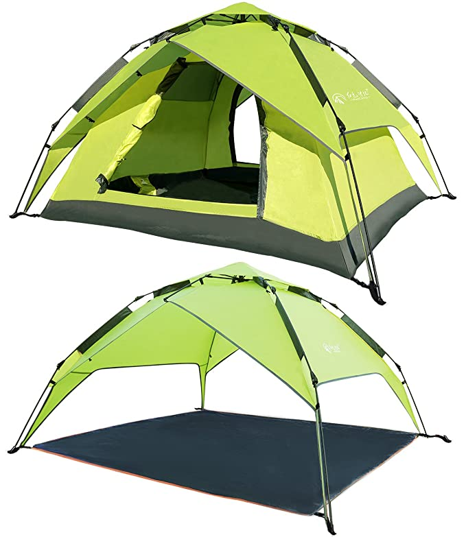 REDCAMP 2 3 Person Automatic Tent for Camping, Instant Waterproof Tent, 3 Season Two-Function Camping Tents with Sun Shelter, Blue and Apple Green