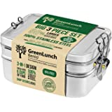 3-in-1 Stainless Steel Bento Box For Kids & Adults with Snack Pod - Holds 6 Cups of Food, 100% Crack-Resistant, Secure Locks,