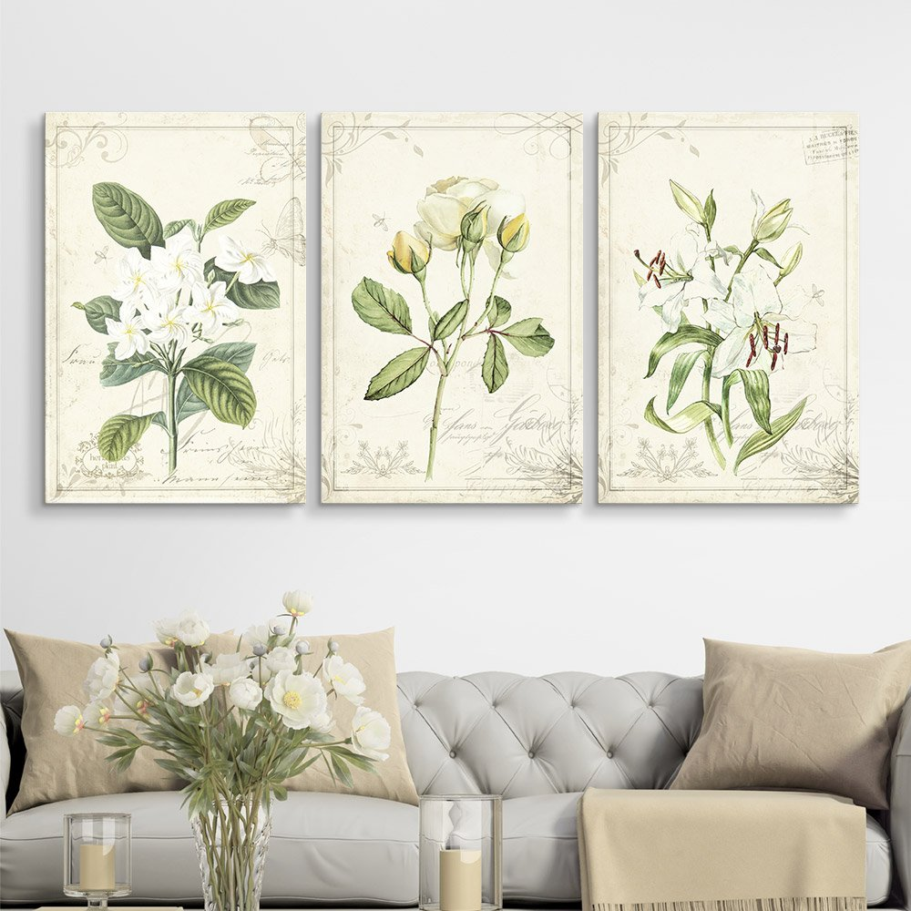 3 Panel Vintage Style White Flowers Gallery X 3 Panels Canvas Art