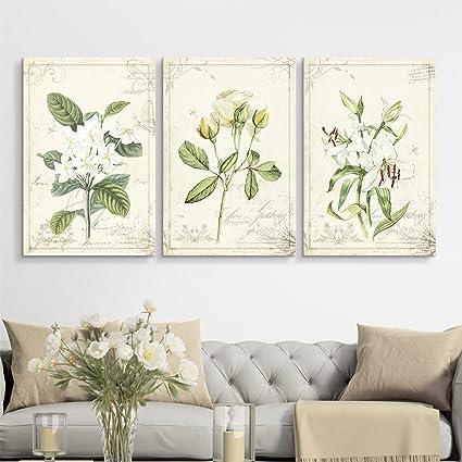 Amazon.com: wall26 3 Panel Canvas Wall Art - Vintage Style White ...