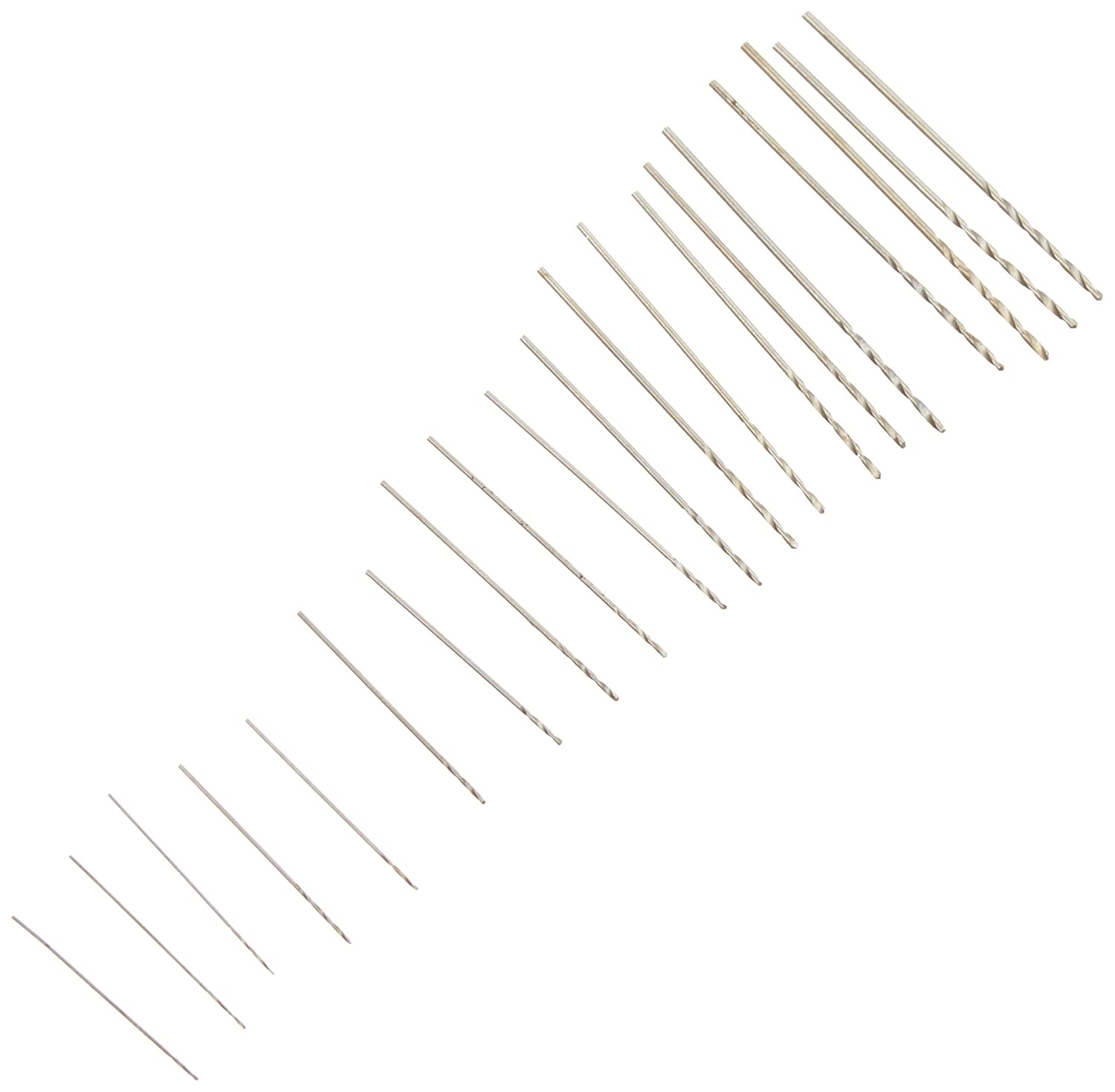 Kaufhof 06-00090 20 piece Tiny Small Drill Bits #61-80 Numbered Sizes High Speed Steel (HSS) Wire Gauge