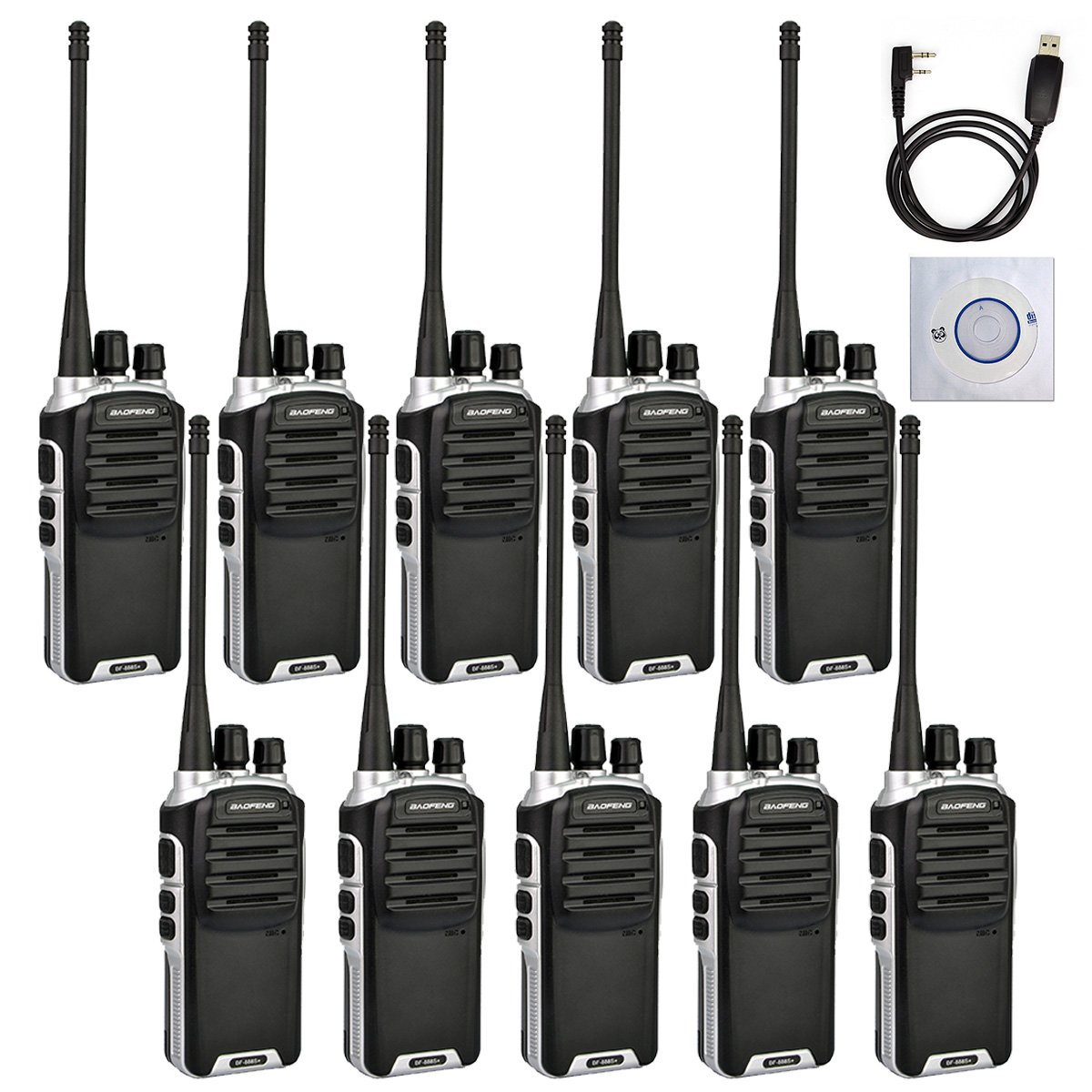 Baofeng BF-888S Plus UHF Walkie Talkies Upgrade Version of BF-888S Two-Way Radio for Hiking Camping Trolling(10 Packs With 1 Free Programming Cable)