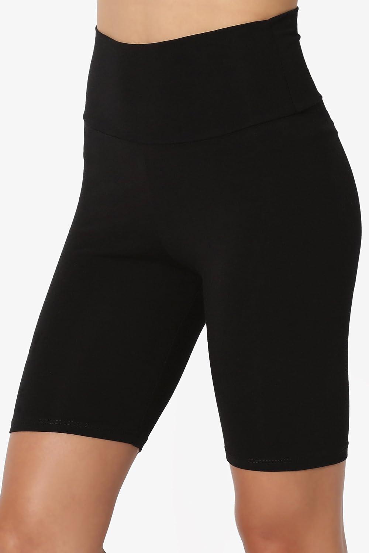 TheMogan Mid Thigh Cotton Span Jersey Active Short Leggings Biker Shorts Tights