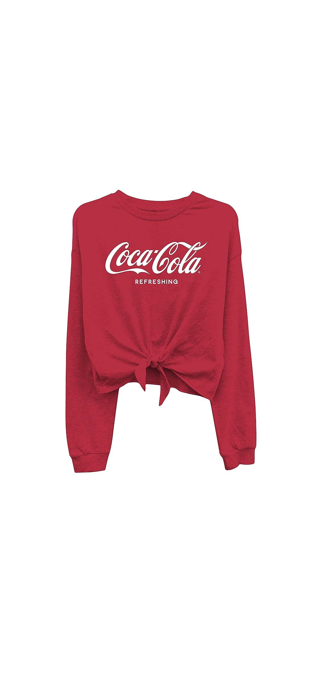 Ladies Coca Cola Fashion Shirt - Coke Classic Logo Tie Front Tee