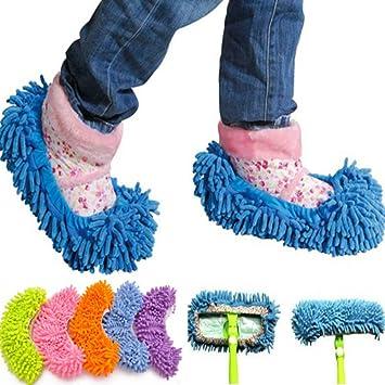 selezione migliore massimo stile vendita outlet Ciabatte pattine Mop con frange cattura polvere in microfibra ottime per  pulizia pavimenti e adattabili a scopa Mop - Taglia Unica Colore Casuale