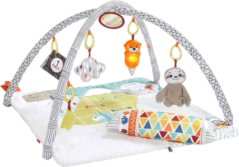 Fisher-Price - Gimnasio Luces Manta de juego para bebés recién nacidos (Mattel FXC37)