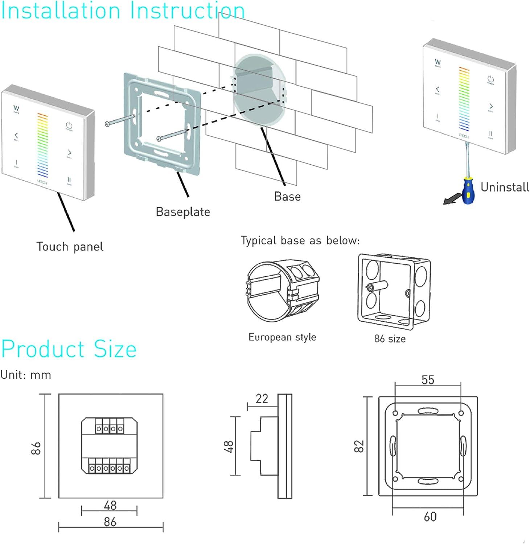 LTRGBW E Series 12-24V DC Controlador LED de m/últiples zonas RF inal/ámbrico control remoto de panel t/áctil estilo europeo E1 DIM