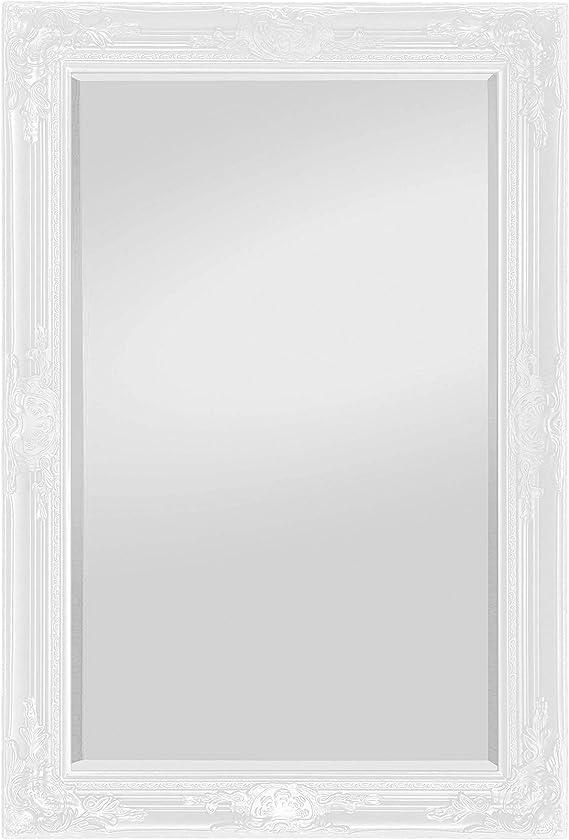 Miroir Mural Blanc Antique Baroque Grand Miroir 90x70 Miroirs de Sale de Bain