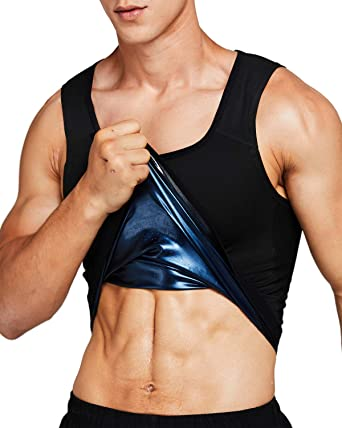 Men Polymer Sauna Vest Weight Loss Sweat Slimming Tank Top With Zipper Shaper US
