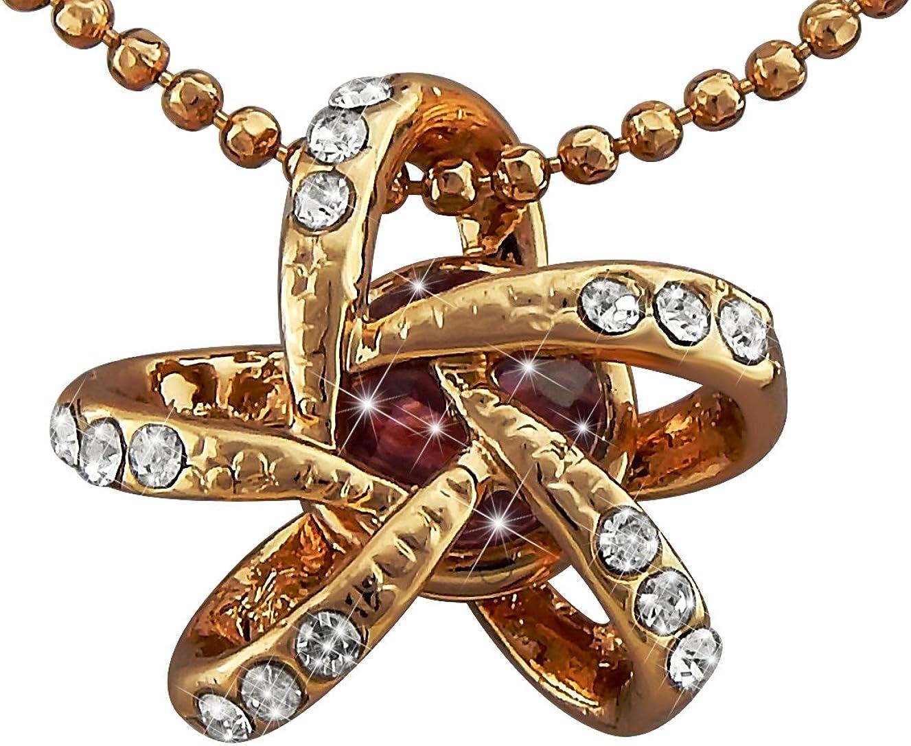 veuer joyas para mujer dorado collar de cadena colgante de efecto Atom en Rosé de oro chapado en oro con brillantes y piedra de cristal en lila regalo para mujeres, la amiga, EHE de mujer VF282