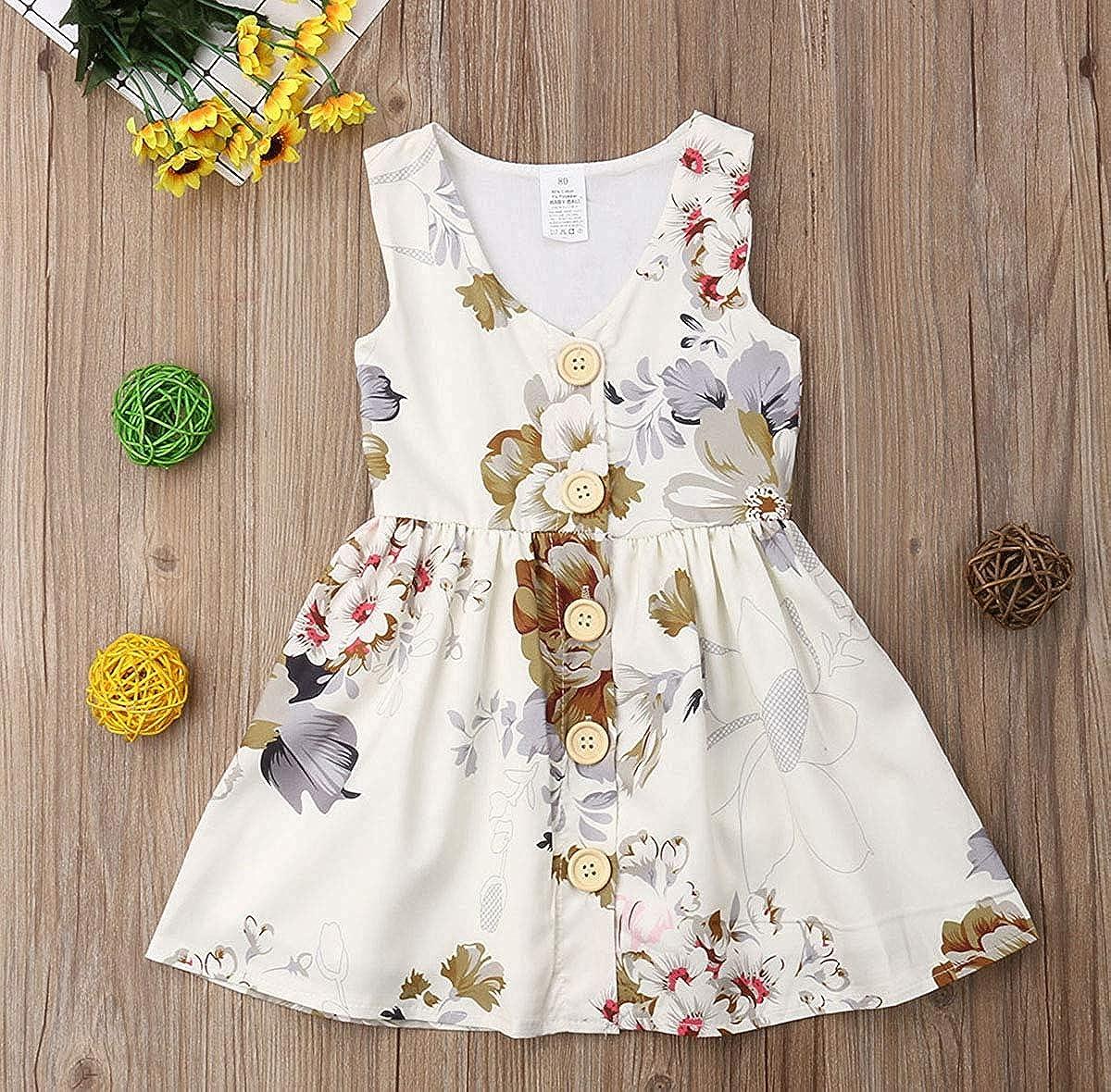 TM Toddler Kids Baby Girl Summer Beach Playwear Dress Stripe Lace Party Pageant Princess Dresses Jchen for 0-5 T Girls,