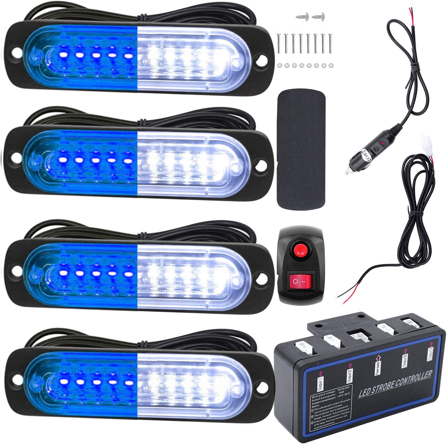 4pcs Emergency Warning Caution Hazard Construction Ultra Slim Sync Feature Car Truck with Main Control Box Surface Mount Led Warning Lights 24LED White Blue