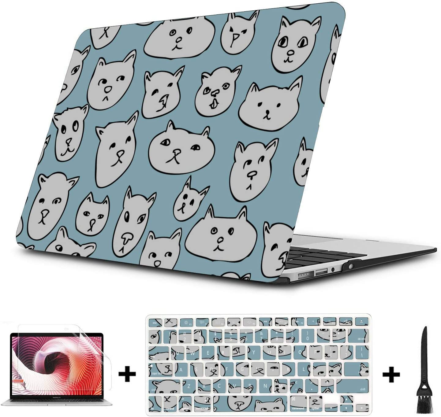 MacBook Pro Laptop Case Smart Well-Behaved Cute Cat Animal Pet Plastic Hard Shell Compatible Mac Air 11 Pro 13 15 Mac Pro Case Protection for MacBook 2016-2019 Version