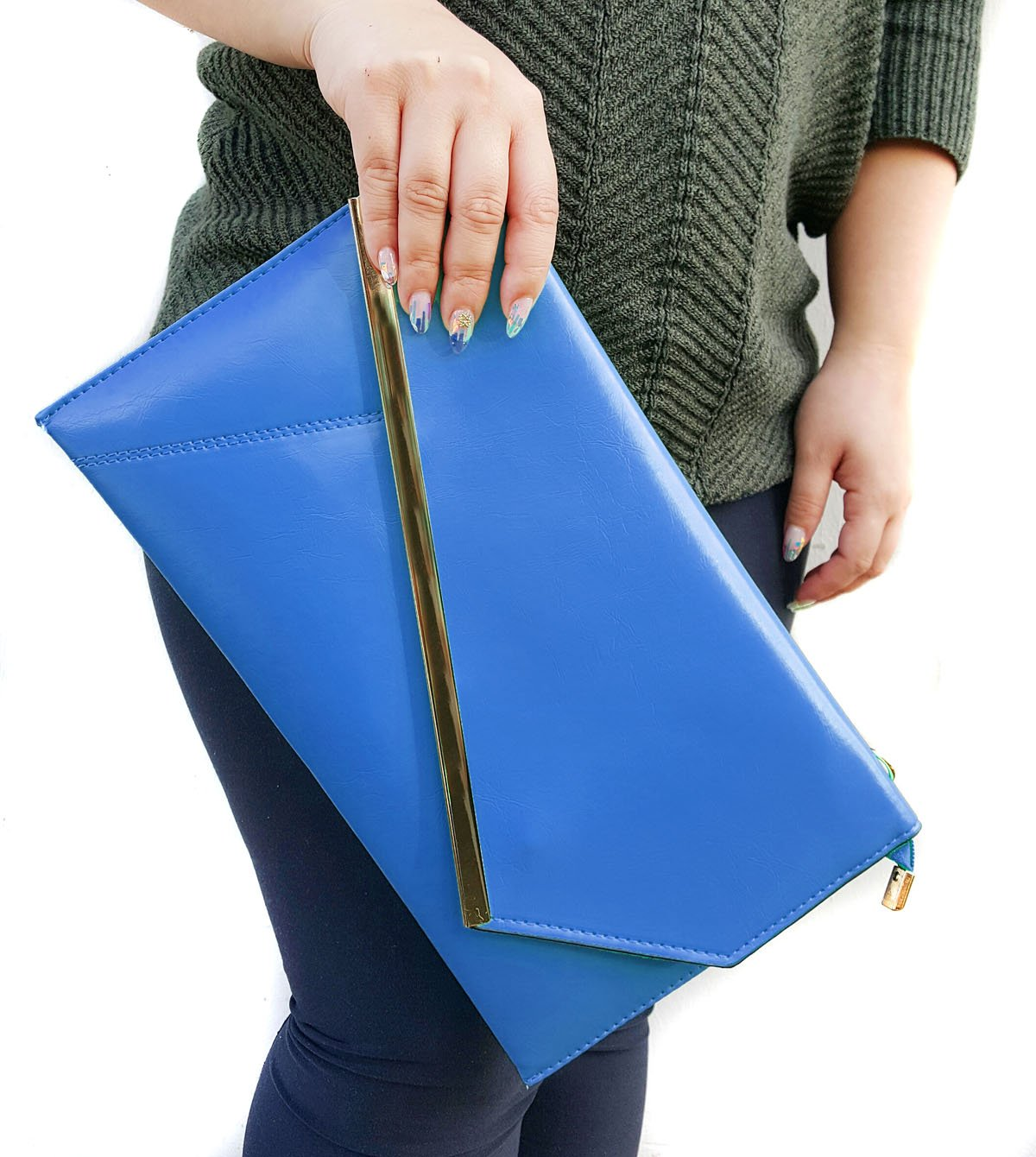 BMC Fashionably Chic Turquoise Faux Leather Gold Metal Accent Envelope Style Statement Clutch by b.m.c (Image #4)