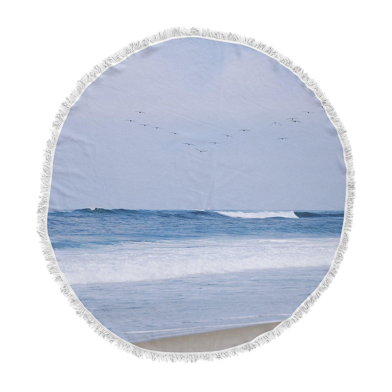 Kess InHouse Nick Nareshni Seagulls Blue White Round Beach Towel Blanket