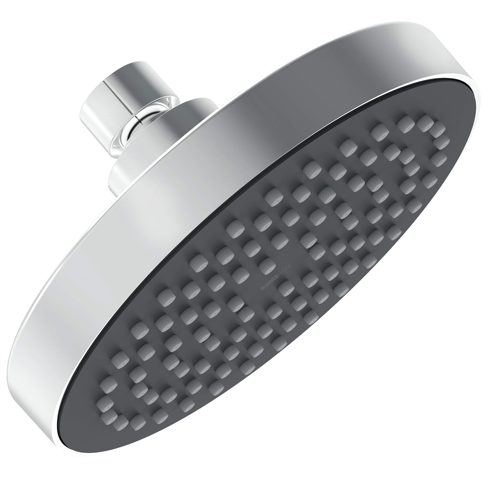 ShowerMaxx | Fixed Rainfall Shower Head with High Pressure Water Flow in Polished Chrome Finish | Round 6inch with Rainshower Jets | Luxury Hotel Spa Rainhead | 2.5 GPM High-Flow Waterfall Showerhead