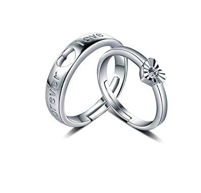 8ab67e4686 FHX Simple Fashion 925 Sterling Silver Love Lovers Ring Men and Women Open  Freely Adjustable Jewelry