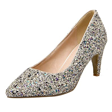 UH Damen Stiletto High Heels Glitzer Spitz Pumps Hochzeit Braut Party Schuhe