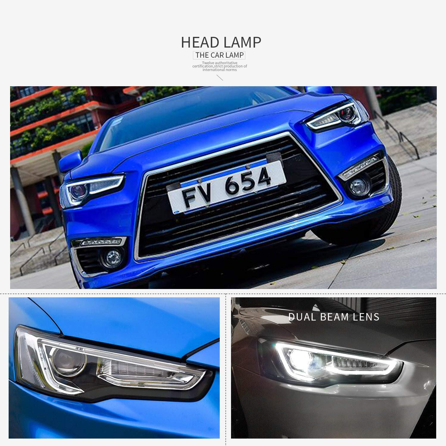 USEKA LED DRL Black Headlight For Lancer Evo X 2008-2017 Dual Projector Sequential with Head Lights