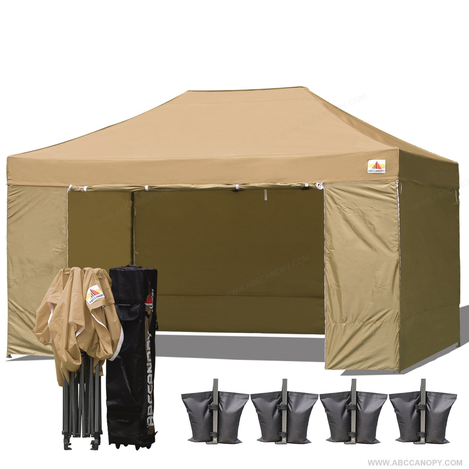 (18+ colors)Abccanopy Deluxe 10x15 Pop up Canopy Outdoor Party Tent Commercial Gazebo with Enclosure Walls and Wheeled Carry Bag Bonus 4x Weight Bag and 2x Half Walls (beige)