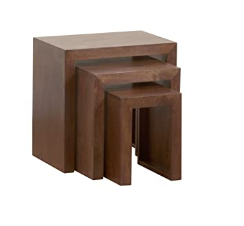 Homescapes Dakota Nest of 3 Tables Dark Solid Mango Wood Living