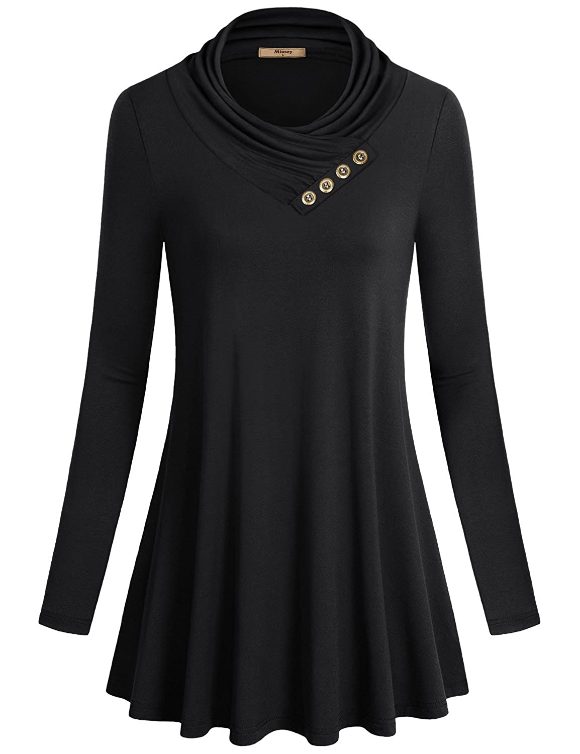 e135cb053e0 Miusey Women s Long Sleeve Cowl Neck Form Fitting Casual Tunic Top Blouse  at Amazon Women s Clothing store