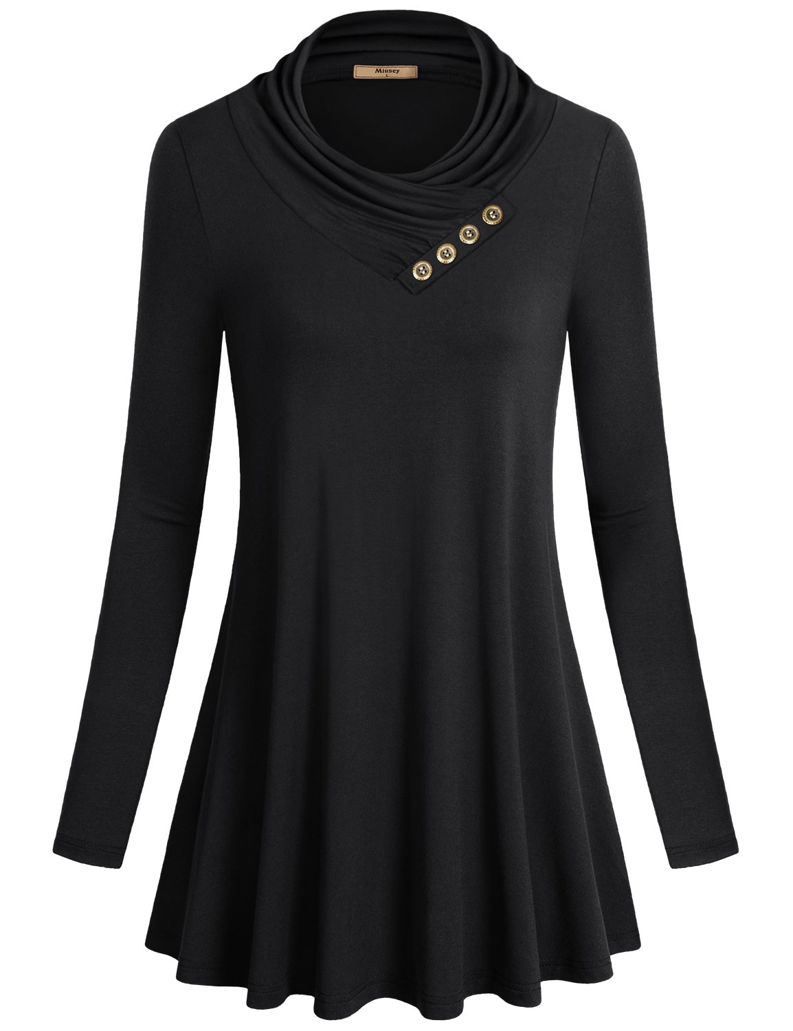 Miusey Tunics for Women, Long Sleeve Cowl Neck Shirt to Wear with Leggings Loose Fit Casual Flowy Top Black X-Large