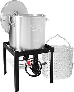 Creole Feast SBK0601 60 Qt. Seafood Boiling Kit with Strainer, Outdoor Aluminum Propane Gas Boiler Steamer with 10 PSI Regulator, 100,000 BTU Jet Burner