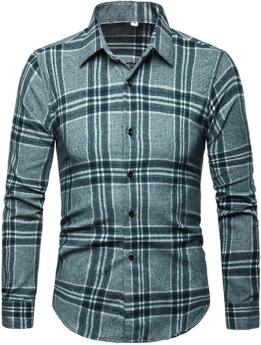 UUYUK Men Plaid Formal Leisure Long Sleeve Western Button Down Shirt