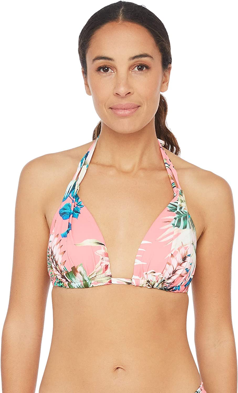 La Blanca Womens Rouched Halter Bikini Swimsuit Top Bikini Top