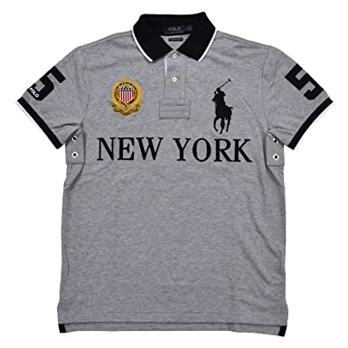 aac71759 Polo Ralph Lauren Mens Custom Slim Fit Mesh City Polo Shirt (Small, Gray New