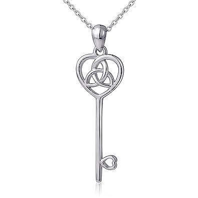 61e12945b LINLIN FINE JEWELRY 925 Sterling Silver Irish Celtic Trinity Knot Heart Key  Pendant Necklace for Women