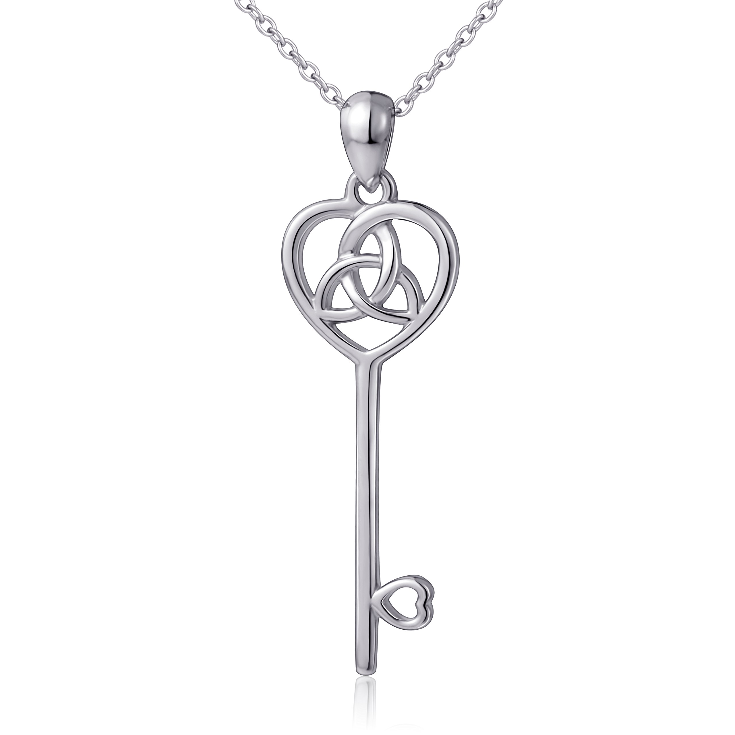 LINLIN FINE JEWELRY 925 Sterling Silver Irish Celtic Trinity Knot Heart Key Pendant Necklace for Women, 18'' (Pendant Necklace with Gift Box)