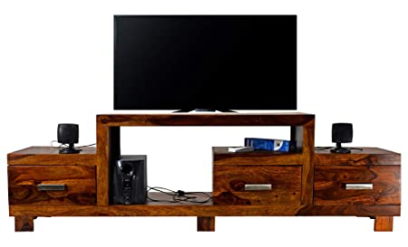 Daintree TimberTaste Sheesham Wood 1.75 Meter New Nadia Natural Teak Finish 3 Drawer Tv Unit Cabinet Entertainment Stand