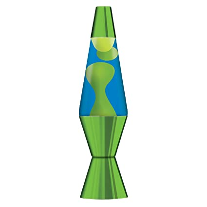 145 Inch Metallic Lava Lamp With Metallic Base Yellow Waxblue