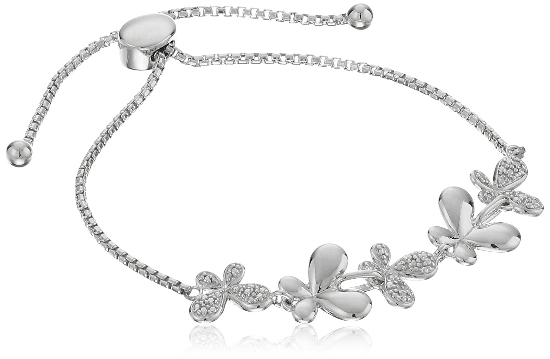 Sterling Silver Diamond Accent Butterfly Bolo Adjustable Bracelet, 9''