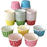 Polka Dot Cupcake Muffin Cups – 2.5 inch Grease Proof and Sturdy Round Shape Baking Liners Paper Case Cup; No Muffin Pan is needed (Assorted pack of 125-25 of each color)