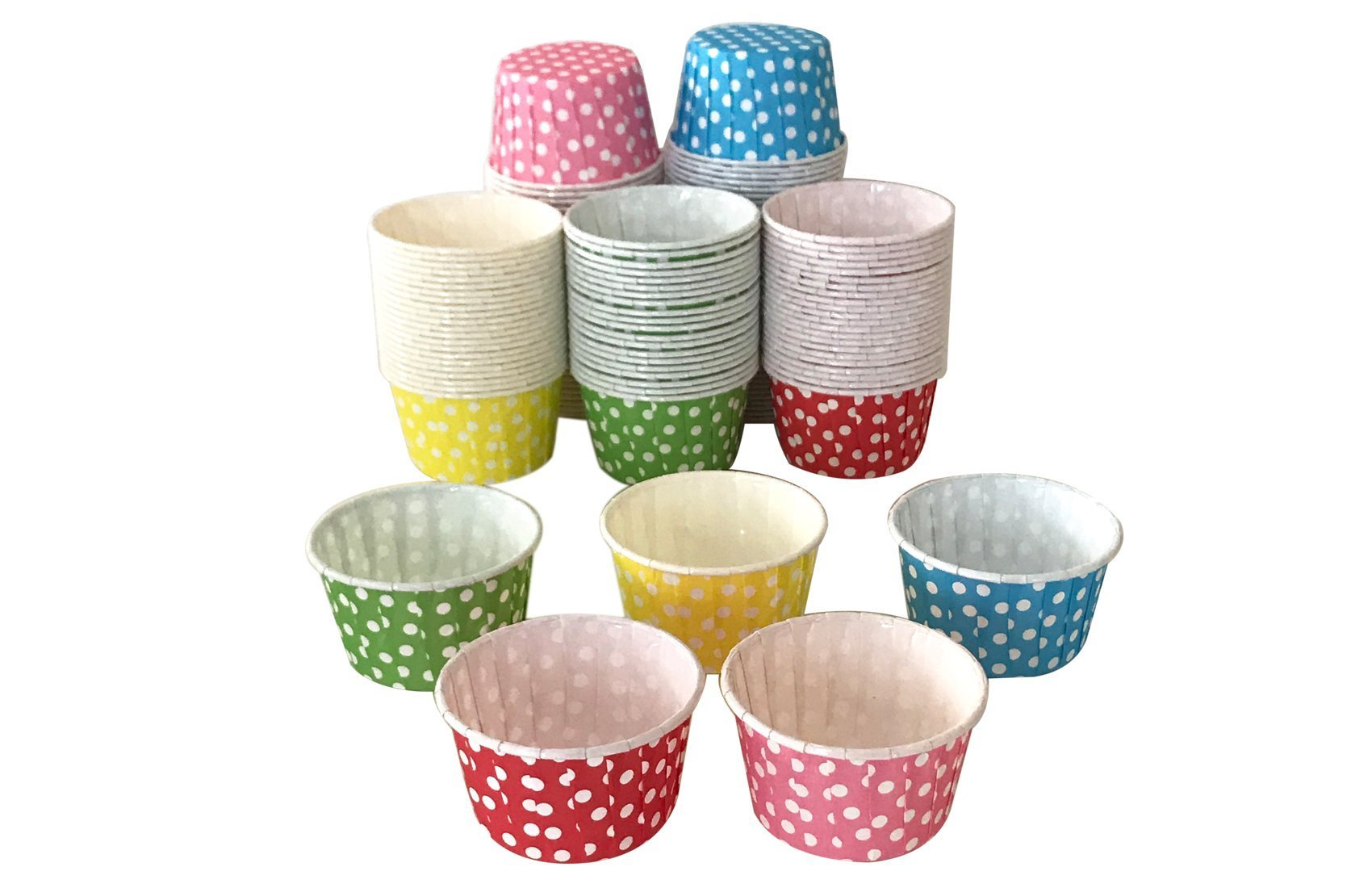 Polka Dot Cupcake Muffin Cups - (Assorted pack of 125-25 of each color) 2.5 inch Grease Proof and Sturdy Round Shape Baking Liners Paper Case Cup; No Muffin Pan is needed