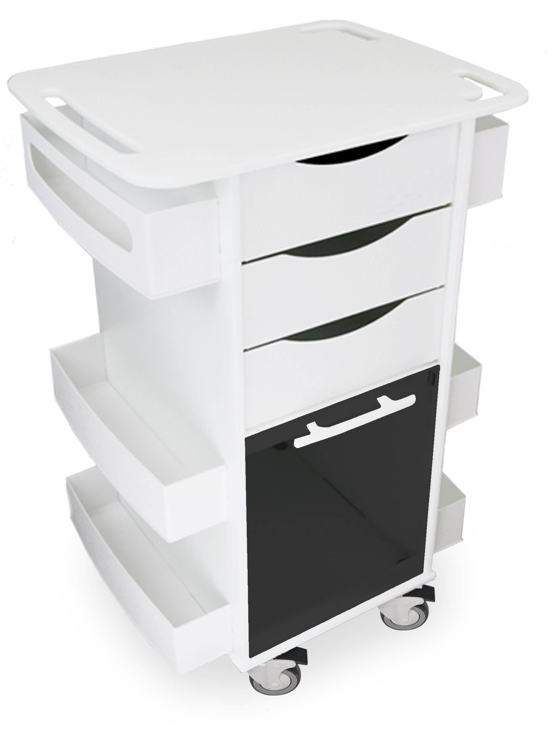 TrippNT 53161 Polyethylene/ABS Locking Core DX Multi-Tasking Medical Cart with Smoke PETG Sliding Door, 23'' Width x 35'' Height x 19'' Depth, White