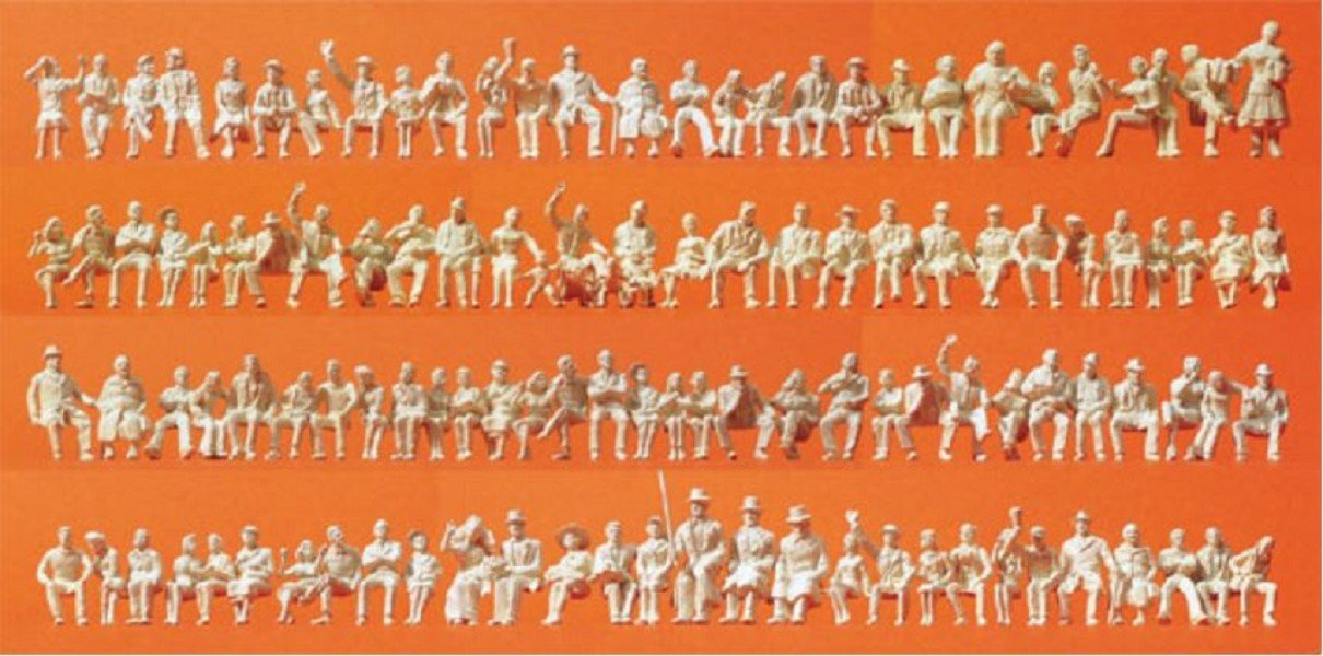 120 HO Model Figure Preiser 16328 Unpainted Figure Set Sitting People Package