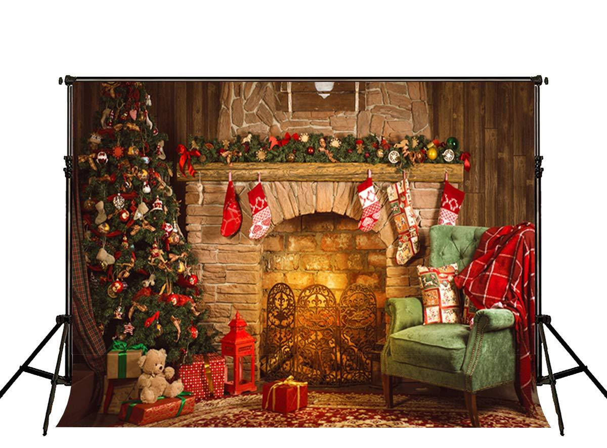 Little Lucky 20x10フィート クリスマス 写真 背景 レンガ 暖炉 背景 クリスマス パーティー 装飾 写真 スタジオ小道具   B07K9CQDRF