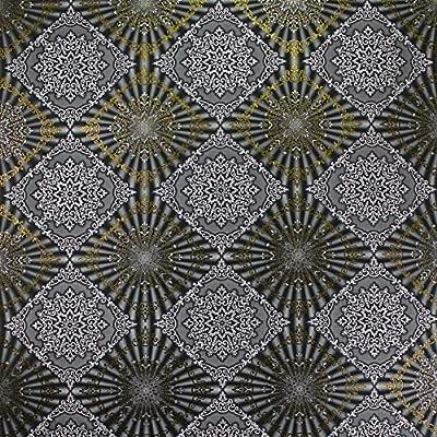 QUADRUPLE ROLL 113.52sq.ft (4 single rolls size) European Slavyanski wallcovering washable tile victorian pattern Vinyl Non-Woven Wallpaper black gray silver textured wall modern glitters metallic 3D