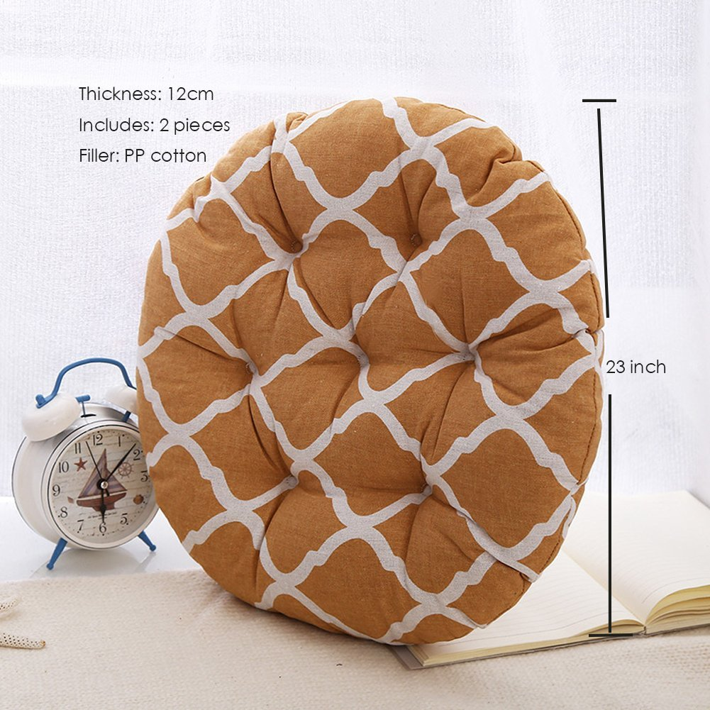 MEMORECOOL LIGHT UP YOUR HOME Modern Simple Round Floor Cushion, Futon Round Seat Cushion Window Pad Chair Cushion Sofa Pillow 23 Inch, Ginger Rhombus Set of 2 by MEMORECOOL LIGHT UP YOUR HOME (Image #2)