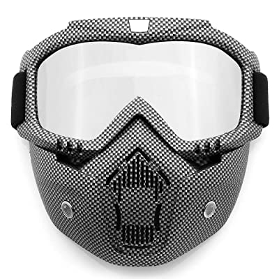 SPOSUNE Motorcycle Goggles Detachable Face Mask, ATV Dirt Bike Off Road Racing Motocross MX Riding Paintball Goggle Anti-Scratch Dustproof UV400 Eyewear with Soft Foam, Adjustable Strap for Men Women: Sports & Outdoors