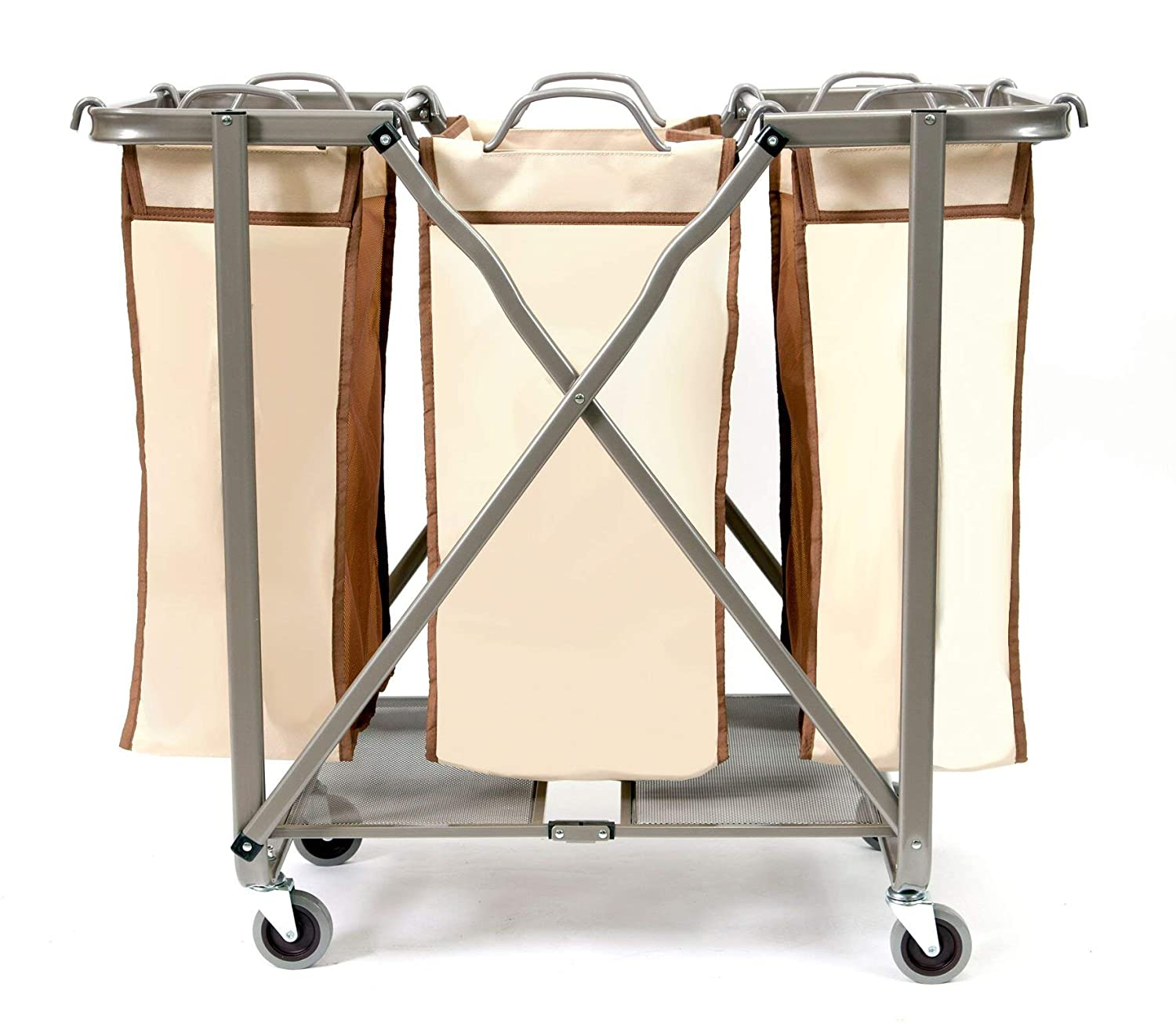 No Assembly Required Brown SEINA Heavy Duty Foldable Laundry Sorter with Removable Odor Resistant Bags Use FLS01 Folds Flat for Easy Storage-Super Smooth Glide Wheels-