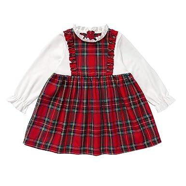 Brillanto Disfraces de Navidad Falda a Cuadros Niña Vestido Niña ...